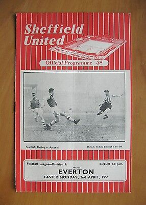 SHEFFIELD UNITED v EVERTON 1955/1956 *Excellent Condition Football Programme*