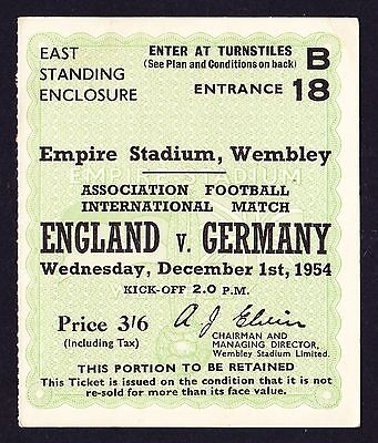 ENGLAND v WEST GERMANY 1954 *Excellent Condition Ticket*