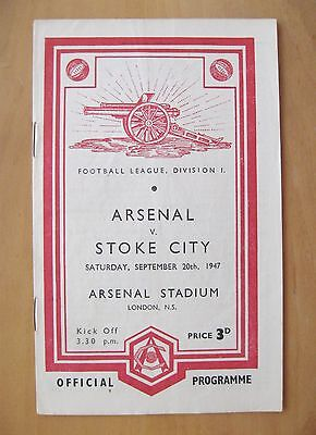 ARSENAL v STOKE CITY 1947/1948 *Excellent Condition Football Programme*