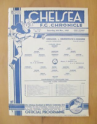 CHELSEA v BOURNEMOUTH Reserves 1936/1937 Excellent Condition Football Programme