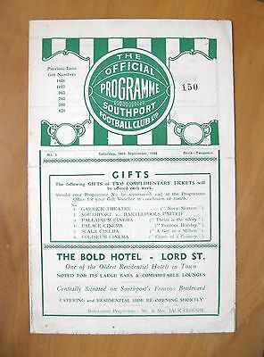 SOUTHPORT Reserves v BACUP BOROUGH 1946/1947 *VG Condition Football Programme*