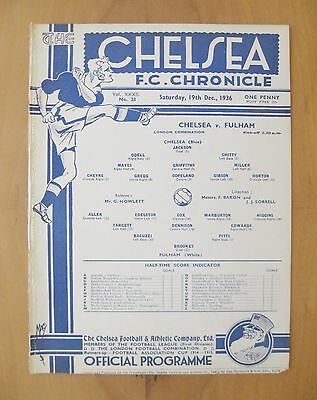 CHELSEA v FULHAM Reserves 1936/1937 *Excellent Condition Football Programme*