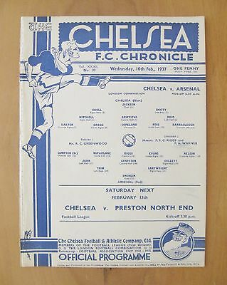 CHELSEA v ARSENAL Reserves 1936/1937 *Excellent Condition Football Programme*