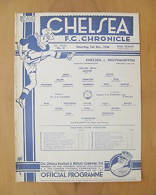 CHELSEA v SOUTHAMPTON Reserves 1936/1937 Excellent Condition Football Programme