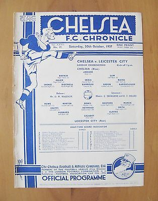 CHELSEA v LEICESTER CITY Reserves 1937/1938 *Exc Condition Football Programme*