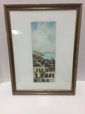 Simon Rosen Framed Painting City on the Sea of Galilee Israel Signed 13x17""