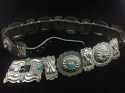 Vintage Native American Navajo Sterling Silver Concho Belt Signed