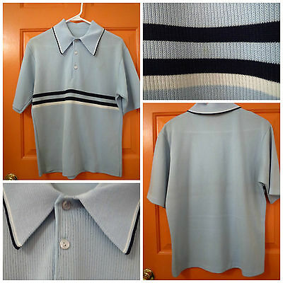 VTG 1960s Retro Rockabilly Blue Knit Stripes Short Sleeve Mens Sweater Shirt MED