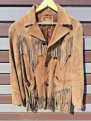 PIONEER WEAR Coat Vintage Size 40 Suede Fringed  Brown Made in USA