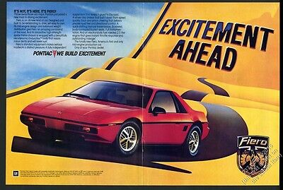 1984 Pontiac Fiero red car photo introductory vintage print ad