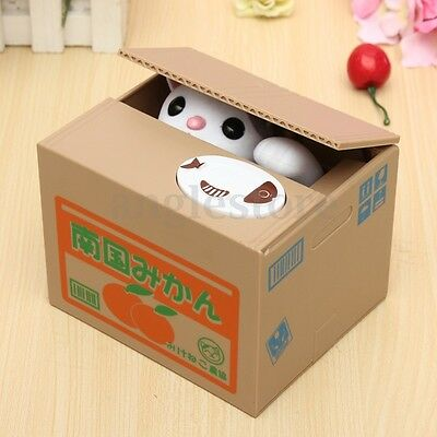 Automated Money Stealing White Cat Coins Piggy Bank Itazura Money Saving Box