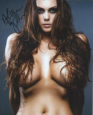 Alison Tyler Topless Covered W/ Hair Signed 8x10 Photo Adult Model COA Proof ATX