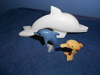 Lot of 3 Small Vintage Dolphin Collectible Figurines