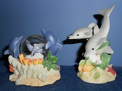2 Vintage Resin Dolphin Figurine & WaterGlobe Excellent Condition Collectibiles