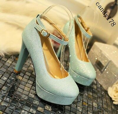 Korean Chic Ladies Womens Bling Platform High Heel Ankle Strap Party Pump Shoes