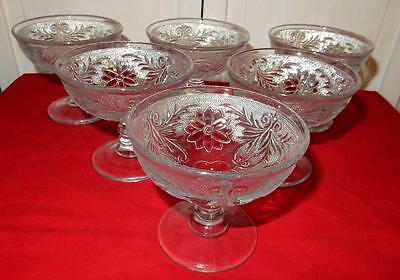 Indiana Glass Sandwich  Lot of 6 Footed Champagne / Tall Sherbet Glasses