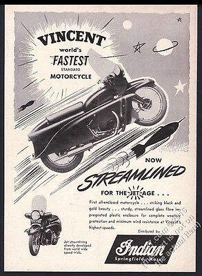 1955 Vincent Black Prince or Knight motorcycle photo vintage print ad