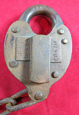Lock - Baltimore & Ohio RR Local Station Brass Heart Shaped Lock - OBSOLETE