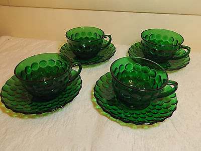 4 Anchor Hocking Forest Green Bubble Glass Cups and Saucers