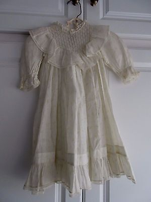 Antique Victorian Child Doll Dress White Cotton with Floral Print Lace Ruffle