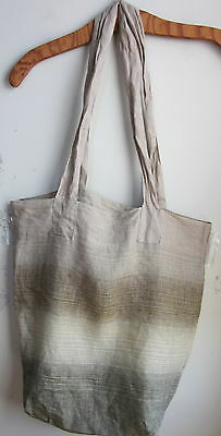 FLAX LINEN BAG - Flax Linen LARGE TOTE Bag  NWT  GOLD/BROWNS