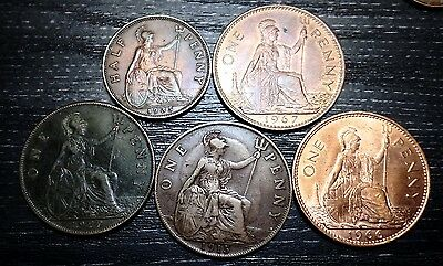 LOT OF 5 HALF AND ONE  PENNIES UK (Great Britain) # 40 421