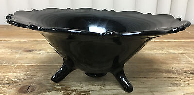 """Black Amethyst LE Smith Mt Pleasant 3 Toed Bowl Compote Footed Crimped 9"""" Glass"""