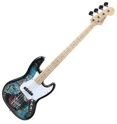 B-Ware Graffiti Design Jazz E-Bass Bassgitarre 2 Single-Coil Tonabnehmer Korpus