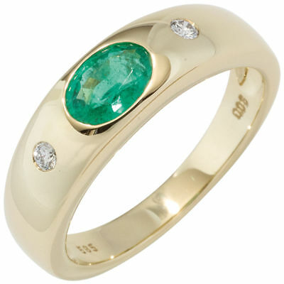 Ladies Ring with Emerald green & Diamonds Brilliants, 585 Gold Yellow Gold