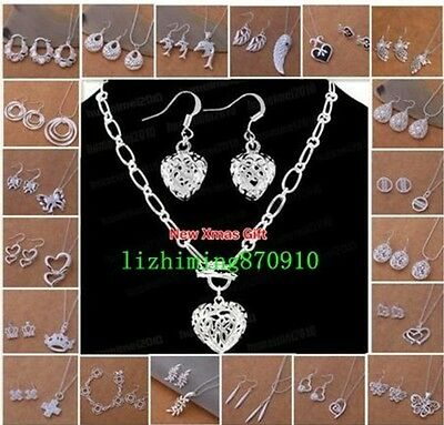 New Silver Jewelry Set Necklace Bangle Bracelet Earring Ring Sets +Box
