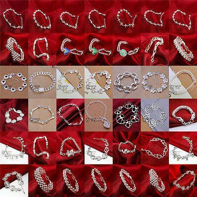 WHOLESALE FASHION JEWELRY SOLID Silver WOMENS 925STERLING SILVER BRACELET GIFT