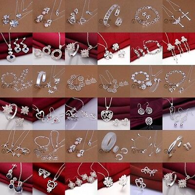 Hot Sale Fashion Jewelry 925silver Suit/Necklace+ring+bracelet+earrings Sets+box
