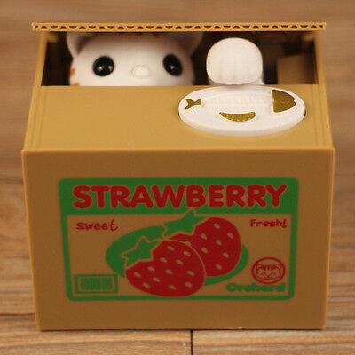 Funny White Cat Automated Steal Coin Penny Piggy Bank savings box Kids Gift Toy