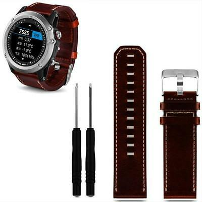 Luxury Leather Strap Replacement Watch Band With Tools For Garmin Fenix 3 ~