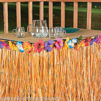 9ft Table Skirt Grass w/Hibiscus Flower Wedding Beach Luau Tiki PARTY Hawaiian