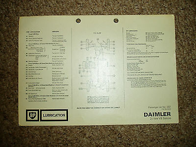 Daimler V8 Saloon BP Lubrication Chart Car GB 2.5 Litre Turner
