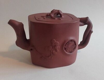 Antique Chinese Yixing Clay Tea Pot with Prunus & Bamboo