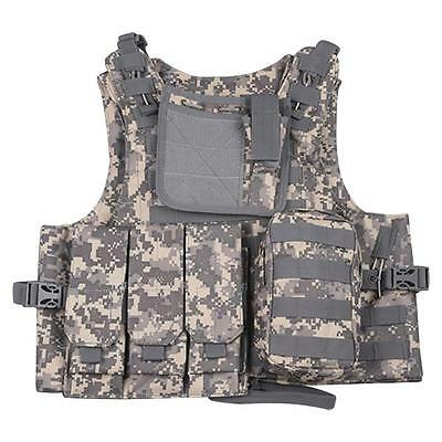 Camouflage Amphibious Paintball Vest Tactical Vest w/ Carrier and Pouch Outdoor