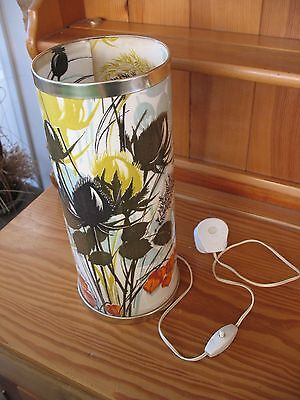 Rare old vintage retro mid century country scene cylindrical table lamp
