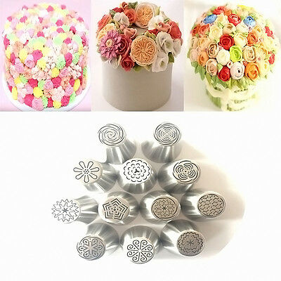 12pcs Russian Tulip Flower Icing Piping Nozzles Cake Decorating Tips Baking Tool