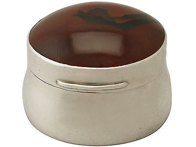 Antique Edwardian Sterling Silver and Hardstone Box