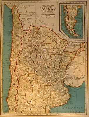 1939 Vintage ARGENTINA Map CHILE Map South America Map  Antique 1930s Map 3341