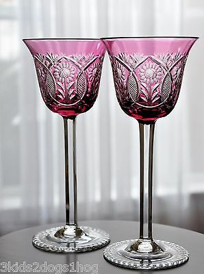 Bohemian Czech Cranberry Pink Cut to Clear Wine Goblets Glasses Pair