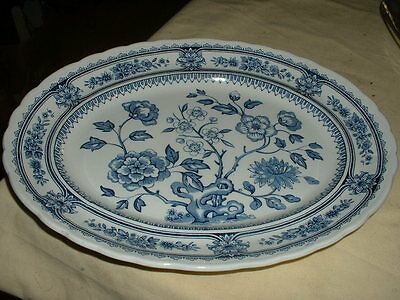 Nice Vintage Blue And White Pottery Decorative Ashet Or Platter