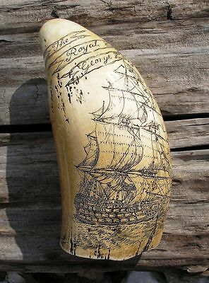SCRIMSHAW REPLICA RESIN Sperm  Whale Tooth Royal King George Navy Battle