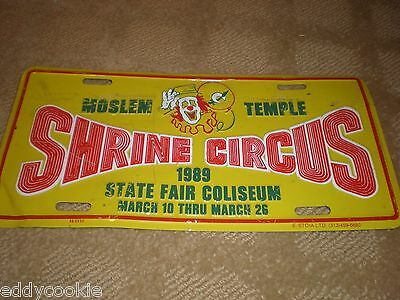 Vintage Yellow Green Red 1989 Moslem Temple Shrine Circus License Plate - Clown