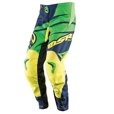 MSR Axxis Adult MX Motocross Pant Blue Green Yellow Off Road Dirt Bike Enduro