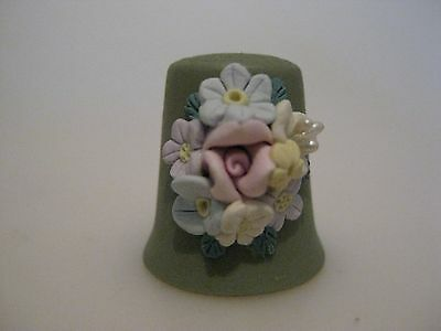 Bisque Thimble with applied FLOWERS