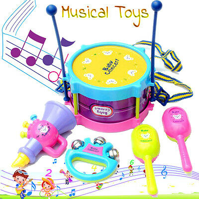 5pcs/Set Kids Baby Roll Drum Musical Toy Instruments Education Toy Children Gift