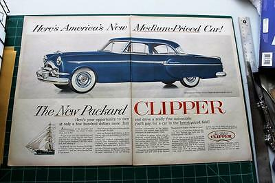 1953  Vintage ad Packard Clipper 2 page  Man Cave Art